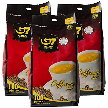 G7 3 In 1 Instant Coffee 100 sticks | Roasted Ground Coffee Blend with Creamer and Sugar, Suitable for Most Coffee Brewing Methods (16gr/stick) PACK 3