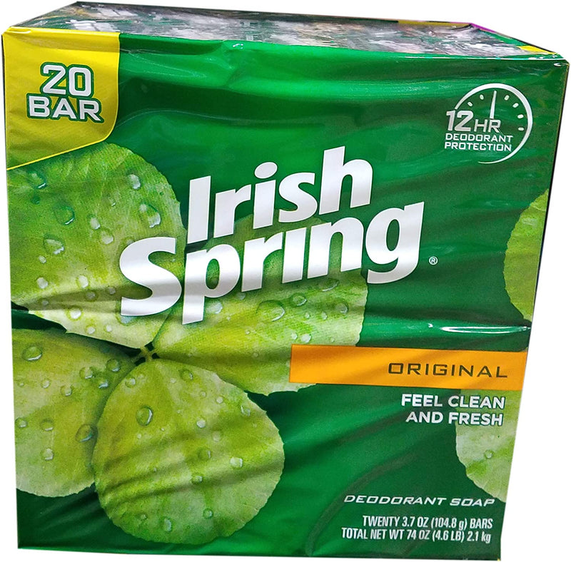 Irish Spring Deodorant Soap Original Bar, 3.75 Ounce (20 Bars)