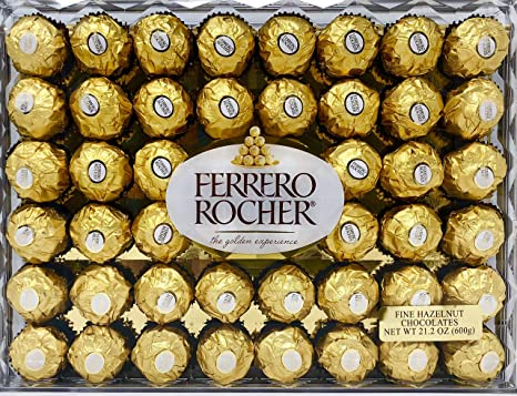 Ferrero Rocher Fine Hazelnut Chocolates, Chocolate Gift Box, 48 Count Flat