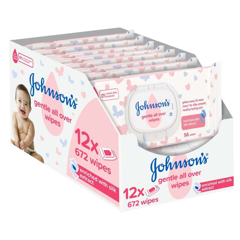 Johnson's Gentle All Over Baby Wipes - (Pack of 12) Total 672 Wipes by Johnson's Baby