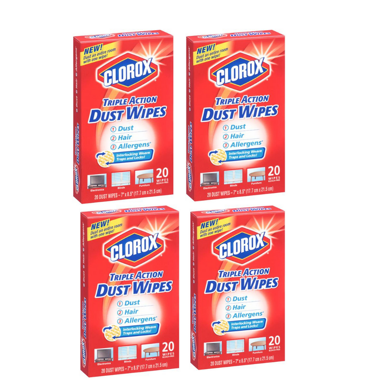 Clorox Triple Action Dust Wipes - 20 Count, (Pack of 4)