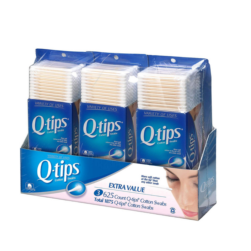 Q-Tips Cotton Swabs, Club Pack 625 ct, (Pack of 3)