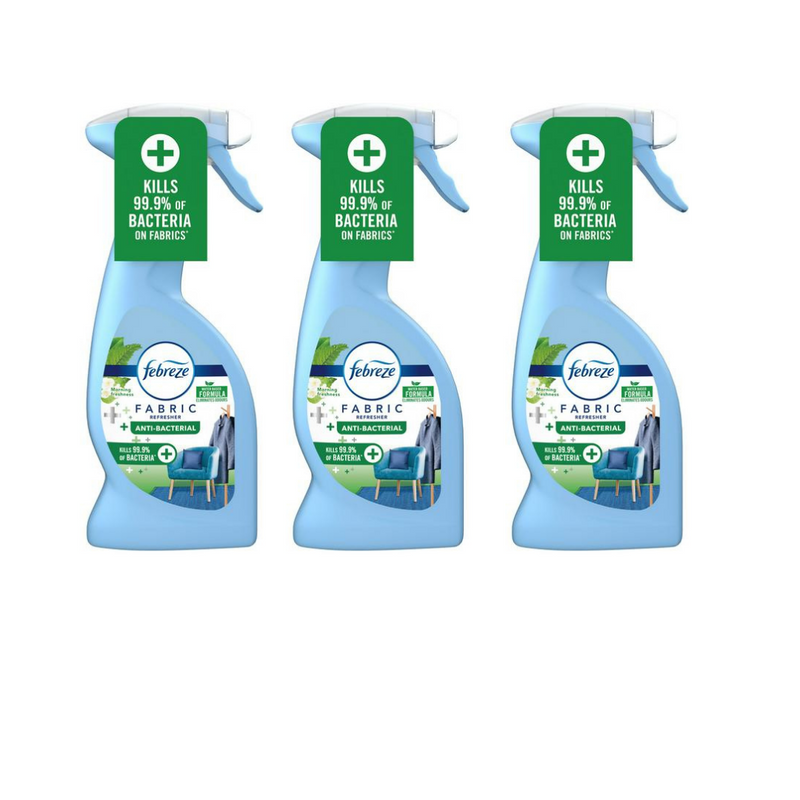 Febreze Fabric Refresher Spray Anti-Bacterial Morning Freshness 375ml - Pack of 3