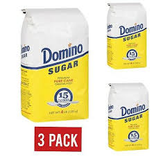 Domino Granulated Pure Cane White Sugar 4 LB BAG (Pack 3)