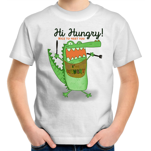 Hi I am hungry Tshirt kids size 2 - 14 years old unisex boys and girls - Tap Tap Market
