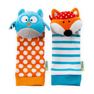 bblüv - Düo - Foot Finders - Fun and colorful baby developmental socks with rattle (Fox and Owl)