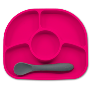 bblüv - Yümi - Anti-Spill Silicone Suction Plate & Spoon Set (Pink)