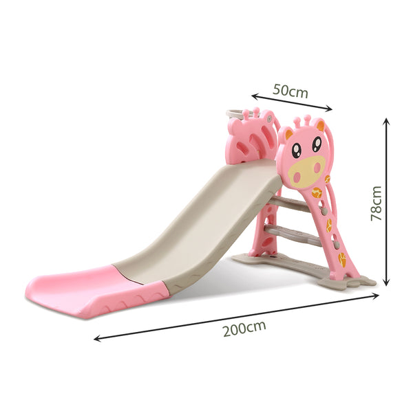 BoPeep Kids Slide Outdoor Basketball Ring Activity Center Toddlers Play Set Pink