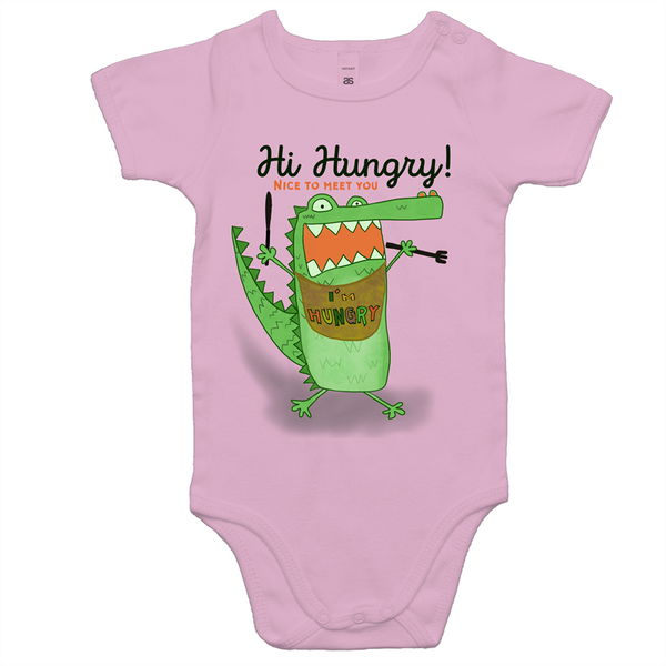 Hi Hungry! Baby Onesie Romper white grey pink blue colours (0-24months)