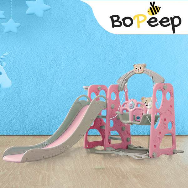 BoPeep Kids Slide Swing Basketball Ring Activity Center Toddlers Play Set Pink