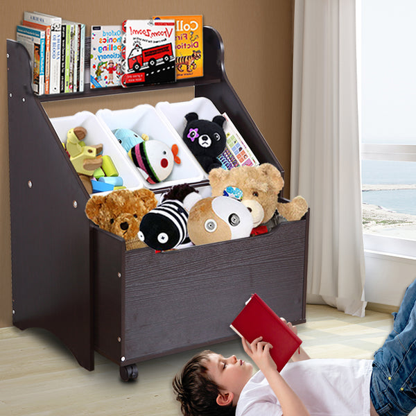 Levede Kids Toy Box Organiser Children Cloth Storage Rack Cabinet Wood Bookcase