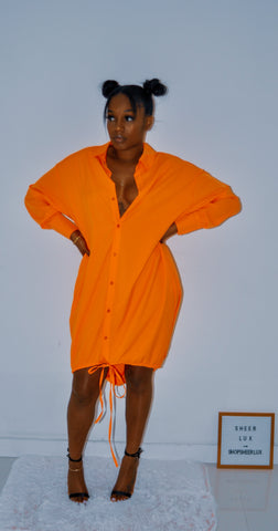 Clementine Drawstring Shirt Dress