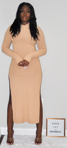 Thumbelina Double Split Maxi Bodycon Dress - Nude