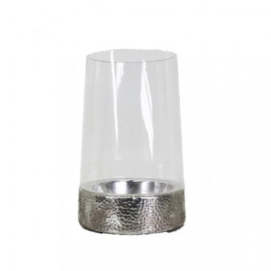 Silver and Glass Candle Holder - 28 cm