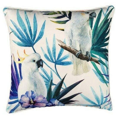 White Cockatoo Bird Outdoor Cushion Glamour Paradise Blue Floral Outdoor Cushion