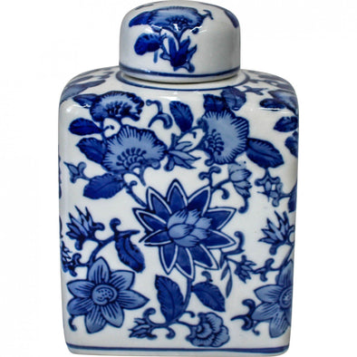 Indigo Blue and White Floral Ceramic Ginger Jar - 15 cm