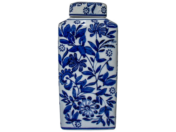 Indigo Blue and White Square Ceramic Ginger Jar - 22.5 cm