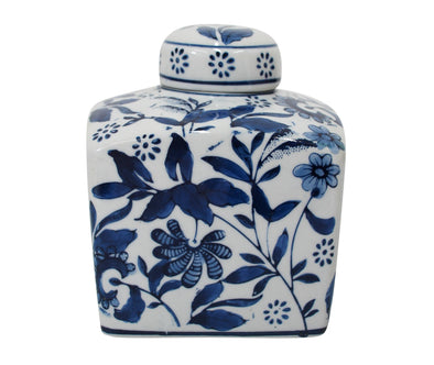 Indigo Blue and White Square Ginger Jar - 14 cm
