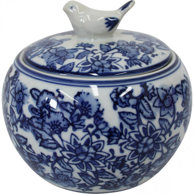 Blue and White Ceramic Jar with Little Bird Lid