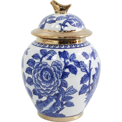 Blue and White Ceramic Jar with Gold Trim and Little Bird Lid