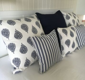 Navy and White Stripe Reversible Cushion Cover - Ornamental Blue - 2 Sizes or Bundle
