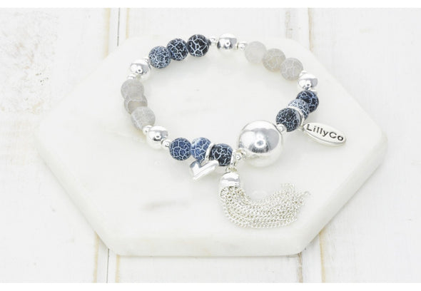 Silver Plated Bracelet with Blue Beads,  Tassel and Heart - 7 cm D - Lillyco