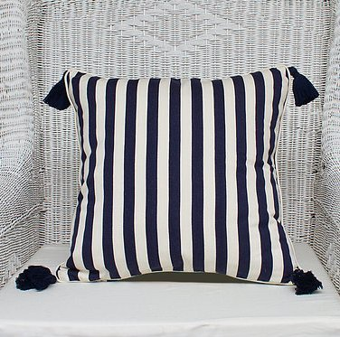 Navy and Off White Cushion Cover with Tassels - Breton - 50 x 50 cm