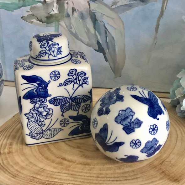 Set of 2 Blue and White Butterfly Ceramic Decor Pieces
