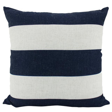 Navy Blue and Natural White Stripe Cushion