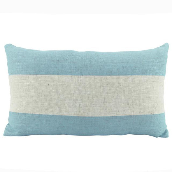 Sky Blue and Natural White Stripe Cushion Cover