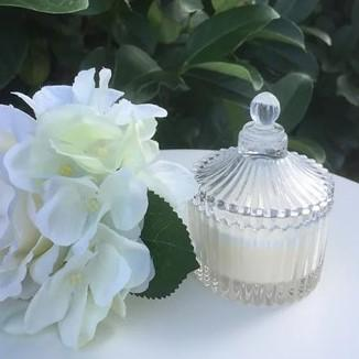 Candle in Small Round Trinket Box - Tiger Lily Blossom