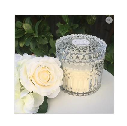 Luxury Soy Candle - Champagne and Strawberries in Cut Glass Trinket Dish