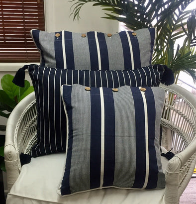 Navy Blue and White Stripe Cushion Cover - 40 x 40 cm