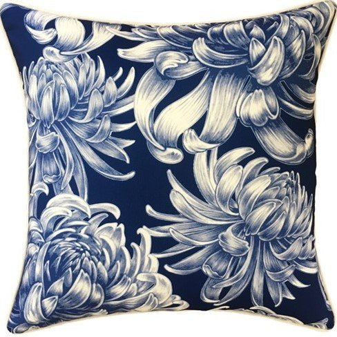 Outdoor Cushion - Hamptons Blue and White 45cm