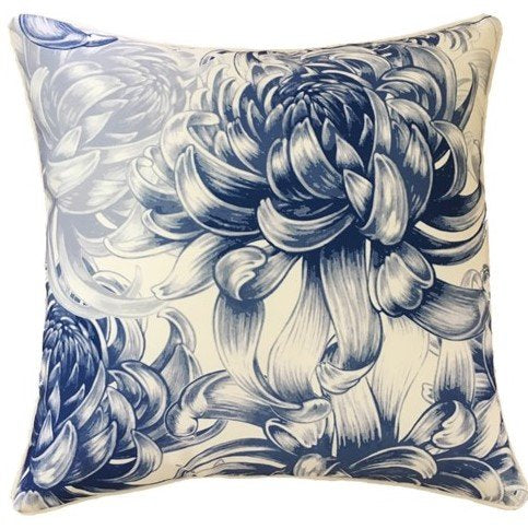 Outdoor Cushion - Hamptons White with Blue Floral Design - 45cm