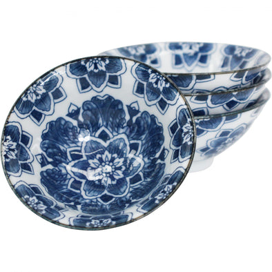 Set of 2 Small Ceramic Serving Bowls - 'Blue Flowers'