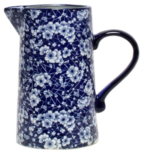 Ming Blue and White Blossom Ceramic Jug - 22 cm