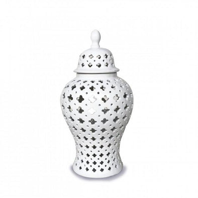 White Lace Temple Ginger Jar  - 32 cm