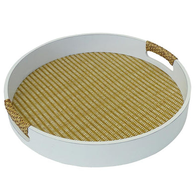 Round White Timber and Rattan Serving Tray - 41 cm