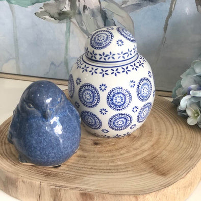 Set of 2 Blue and White Ceramic Decor Pieces