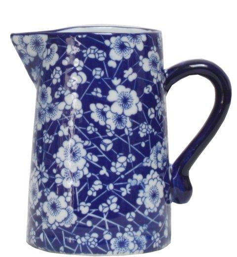 Ming Blue and White Blossom Ceramic Jug - 20 cm