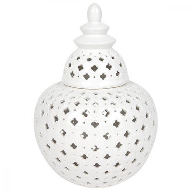 Gloss White Miccah Temple Ginger Jar - 32 cm