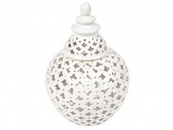 Gloss White Miccah Temple Ginger Jar - 26 cm H