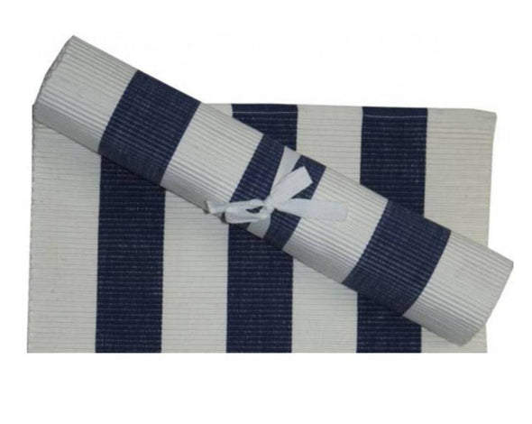 Navy and White Stripe Table Runner