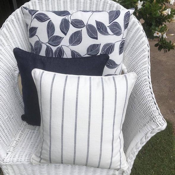 Set of 3 Navy and White Cushion Covers