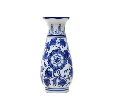 Blue and White Floral Vase - 20 cm