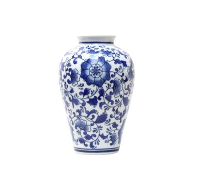Navy Blue and White Floral Ceramic Vase - 23 cm