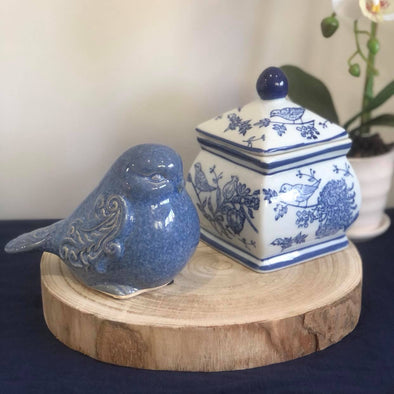 Set of 2 Blue Bird Hamptons Style Ceramic Decor