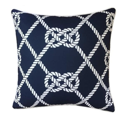 Outdoor Cushion - Navy and White Nautical Reef Knot 45cm