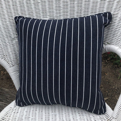 Navy and White Stripe Cushion Cover